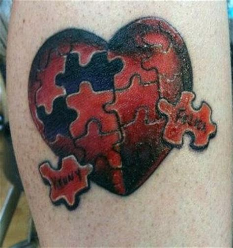 heart puzzle tattoo puzzle color aron tattoos