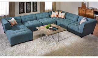 u shape blue suede tufted sectional sofa with right chaise