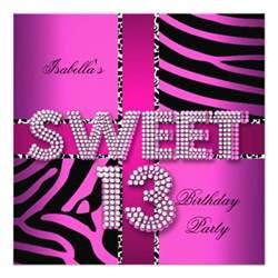 sweet 13 13th birthday zebra cow pink black 5 25x5 25 square paper invitation card zazzle