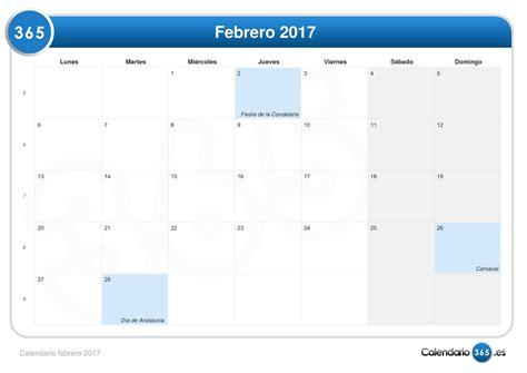 Calendario De Febrero De 2017 Calendario Febrero 2017
