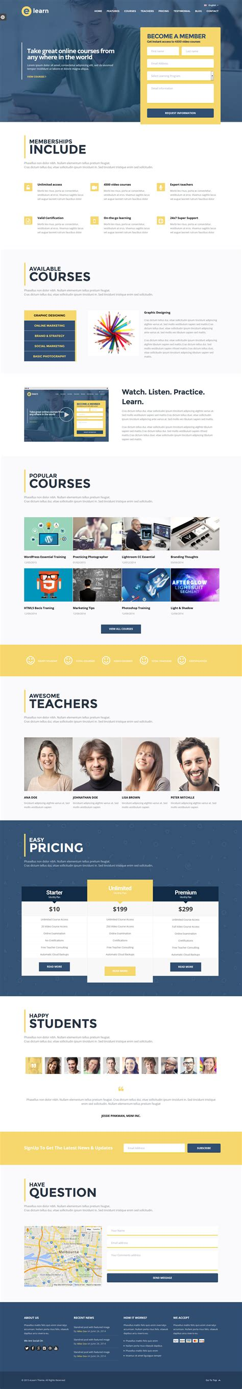 education theme bootstrap e learn onepage bootstrap education html by themeelite