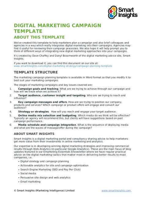 Digital Marketing Caign Template Writing A Marketing Plan Template