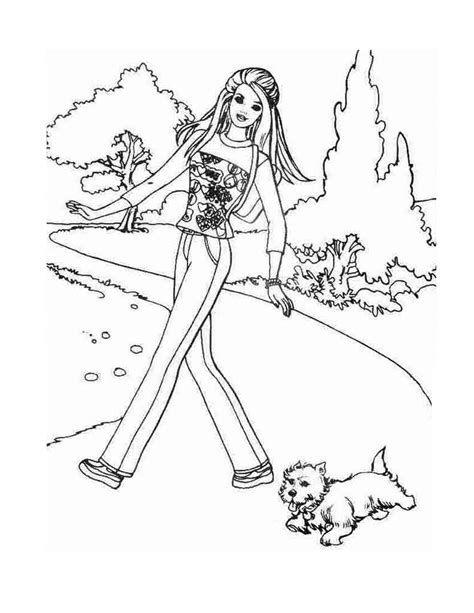 princess disney coloring pages barbie walking