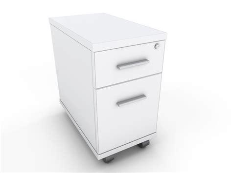 White Two Drawer Narrow Under Desk Pedestal Specialist Narrow White Desk
