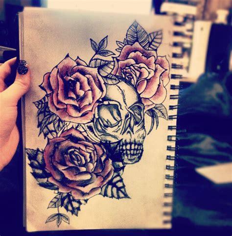 rose tattoo on chest tumblr savannahmartinaa rose and skull tattoo design via tumblr