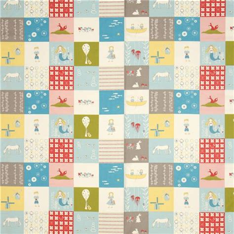 Childrens Patchwork Fabric - patchwork birch organic fabric with sea boat children