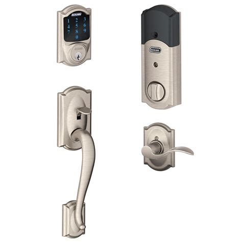 schlage bedroom door lock schlage connect camelot satin nickel touchscreen deadbolt