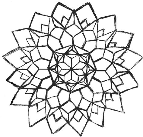 Easy Flower Design Coloring Page Clipart Best Geometric Flower Coloring Pages