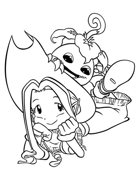 happy birthday mimi coloring page mimi and palmon digimon anime coloring pages for kids