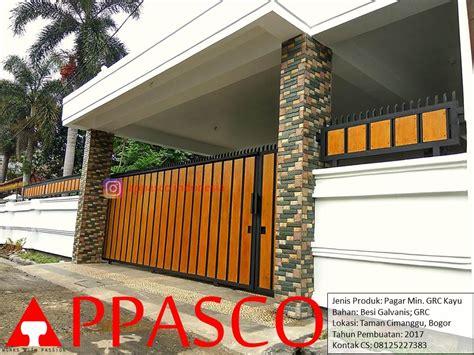 desain cover kolom pagar rumah minimalis motif kayu grc jual kanopi tralis