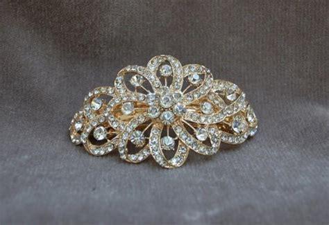 Vintage Bridal Hair Barrette by Rhinestone Bridal Gold Hair Clip Bridal Handmade