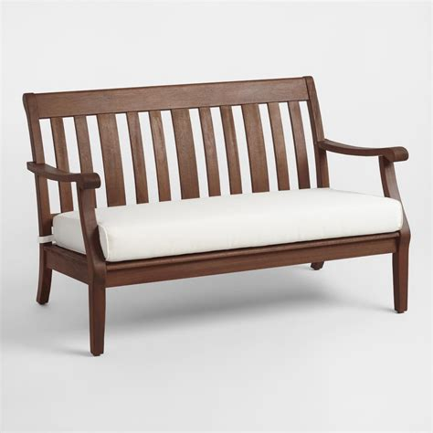 cushion benches wood st martin occasional bench with cushion world market