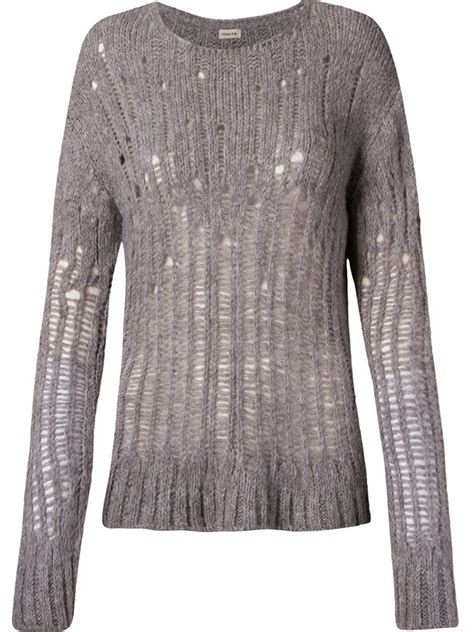Osklen Open Knit Sweater In Gray Grey Lyst