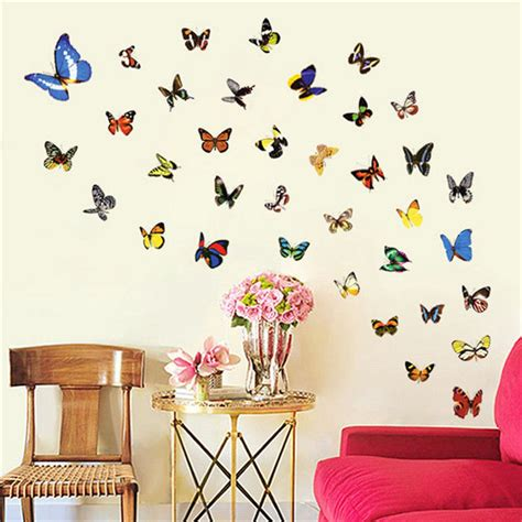 colorful wall stickers 80pcs butterfly wall sticker decals vinyl bedroom ceramic tiles pvc colorful design diy room