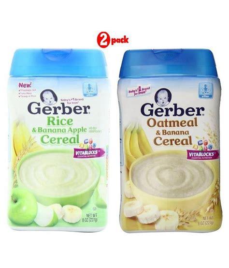 Gerber Oatmeal Banana Cereal Sereal Bubur Bayi Instant gerber oatmeal banana oatmeal apple infant cereal for 6 months 454 gm buy