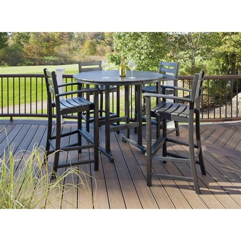 Outdoor Bars Furniture For Patios Trex Outdoor Furniture Monterey Bay Charcoal Black 5 Patio Bar Set Txs119 1 Cb The Home