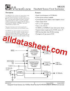 integrated circuits pdf file mk3235 datasheet pdf integrated circuit systems