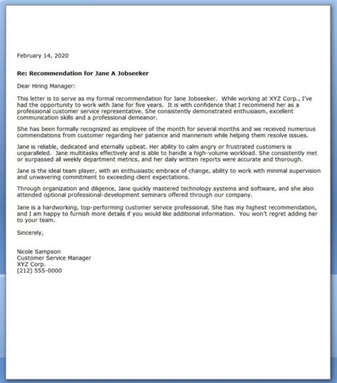 Letter Of Recommendation For Customer Service Creative Resume Design Templates Word Customer Reference Letter Template