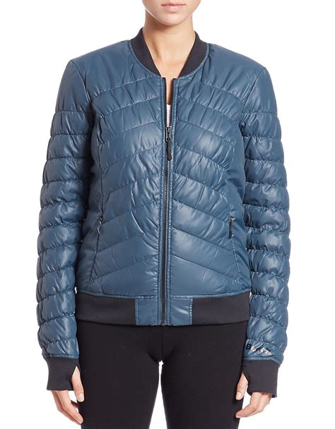 bench bomber jacket bench puffer thumb hole bomber jacket in blue midnight
