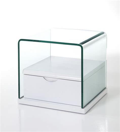 comodino vetro comodino con cassetto in vetro e laccato bianco