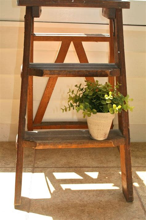 vintage antique wooden step ladder cottage chic decor