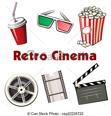 vector illustration of set of colored retro cinema icons