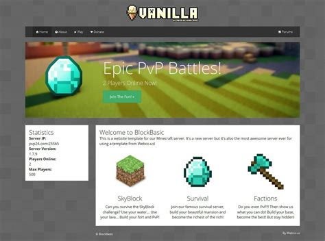 Blockbasic Minecraft Website Template Minecraft Website Templates Sellfy Com Minecraft Website Template