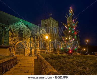 st mary s church at night at christmas time scarborough