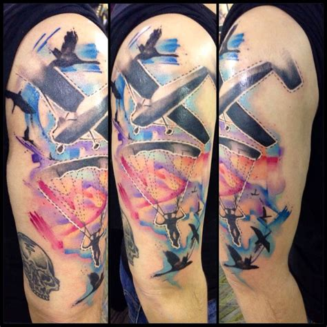 parachute tattoo watercolor skydiving justin nordine tattoos www