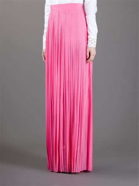 frankie morello pleated maxi skirt in pink lyst