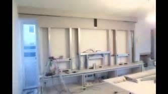 Wohnzimmer Design Wand Innenausbau Design Multimedia Tv Wand Trockenbau Youtube
