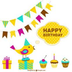 free happy birthday cards with happy birthday card with colorful garlands and cupcakes