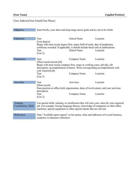 Basic Resume Templates   madinbelgrade