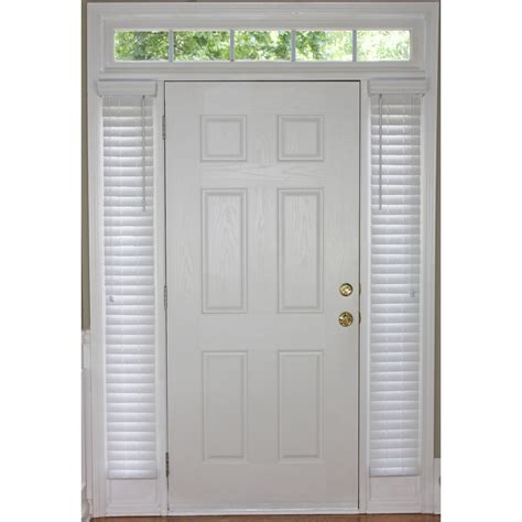 Blinds For Front Doors Shop Style Selections White Faux Wood 2 In Slat Room Darkening Sidelight Plantation Blinds