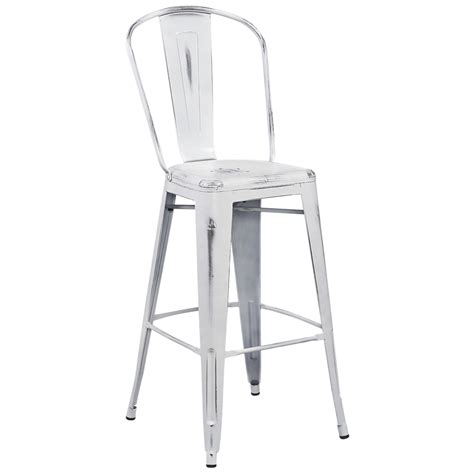 tolix style distressed indoor outdoor bar stool with back