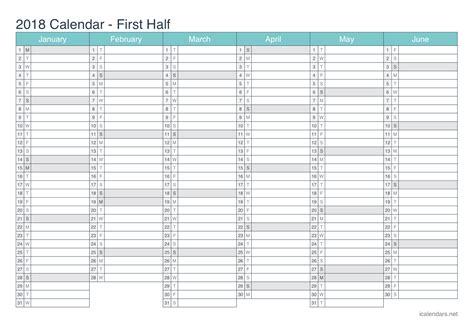 printable calendar half page 2018 2018 printable calendar pdf or excel icalendars net