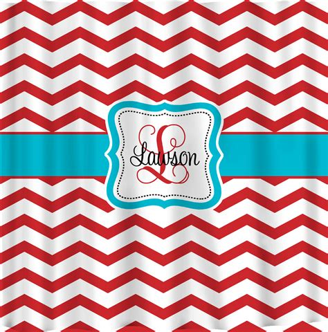 red chevron curtains personalized shower curtains red and white chevron by