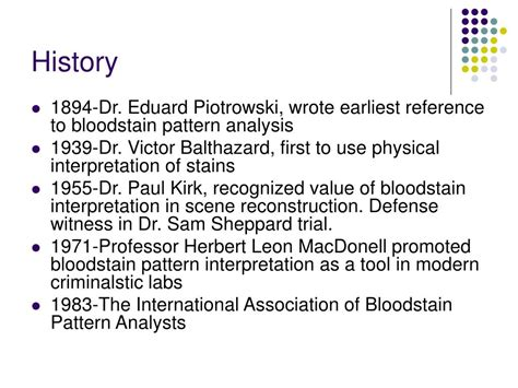 bloodstain pattern history ppt bloodstain pattern analysis powerpoint presentation