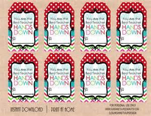 Teacher appreciation best teacher hands down gift tags by by