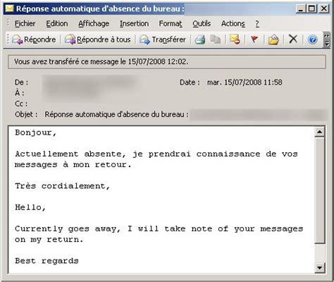 exemple message absence bureau exemple message r 233 pondeur humour