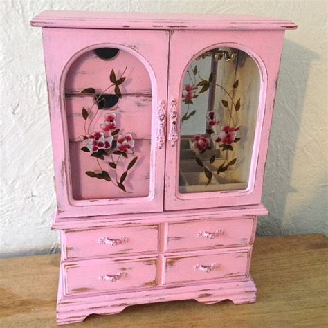 pink jewelry armoire shabby chic jewelry armoire large pink wood jewelry box vintage