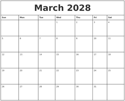 printable march weekly calendar march 2028 printable monthly calendar
