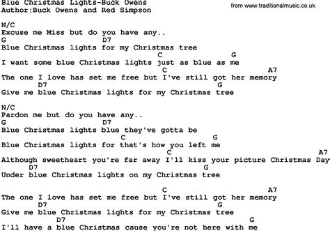 country music blue christmas lights buck owens lyrics and