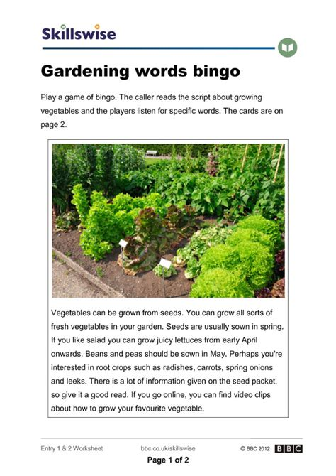 meaning of activities of gardening gardening words bingo