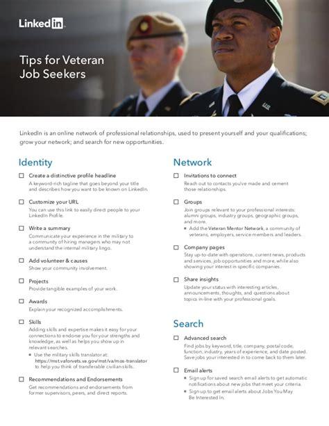 Linkedin Title For Mba Seeker by Linkedin Veteran Seeker Tipsheet