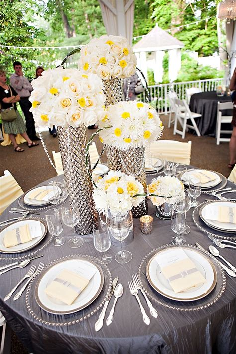 grey wedding centerpieces gray and yellow are great for and summer weddings