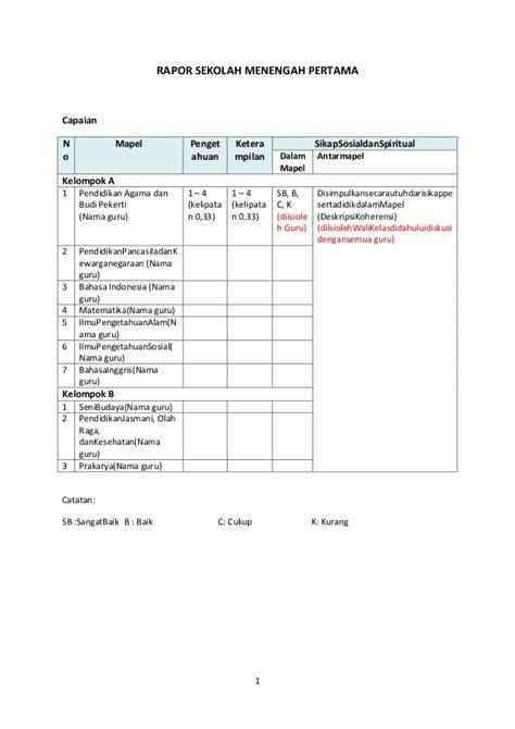format buku raport smp kurikulum 2013 model rapor smp kurikulum 2013