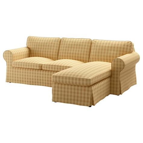 Ektorp Cover Two Seat Sofa W Chaise Longue Skaftarp Yellow Covers For Ikea Ektorp Sofa