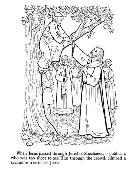 Coloring Page Zacchaeus Jesus by Zacchaeus Coloring Page Bible Coloring Pages