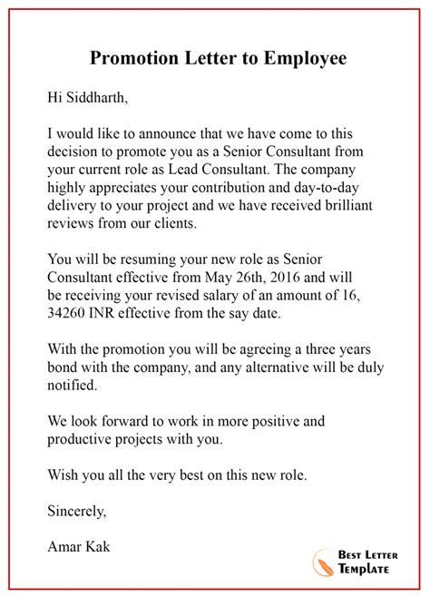 promotion letter template format sample